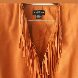 August Max Orange Long Sleeve Jacket  With Tassels